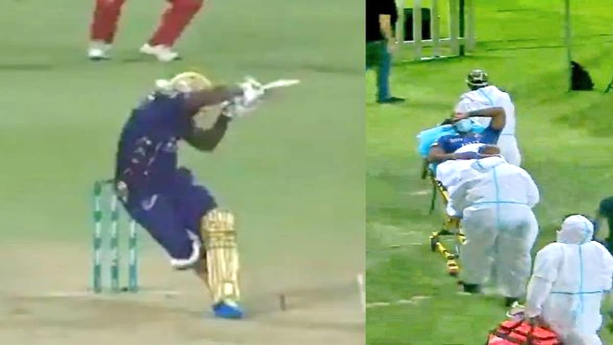 Andre Russell injured needed a stretcher lying in the middle of the field