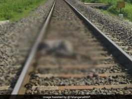Telagana The body of the accused of rape was found in the railway track there was a ruckus